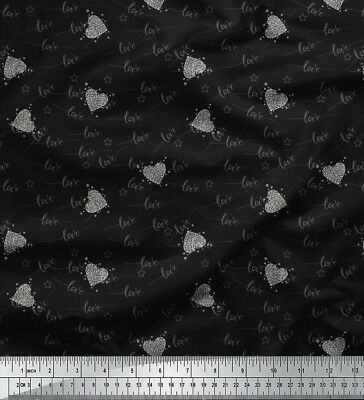 Soimoi Fabric Heart & Love Text Decor Fabric Printed Meter-TX-539A • 7.60£