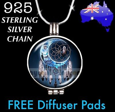 AU15.95 • Buy Dreamcatcher Wolf Moon Essential Oil Diffuser Locket 925 Sterling Necklace Gift
