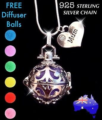 AU14.50 • Buy MUM Aromatherapy Essential Oil Diffuser 925 Sterling Silver Chain Necklace Gift