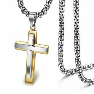 £21.75 • Buy 18K Gold Plated Cross Crucifix Necklace Men Women Mothers Day Fathers Faith