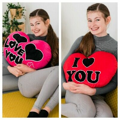 Soft I Love You Red Heart Cushion Pillow  Valentines Day Gift Sofa Bed Present  • 9.95£