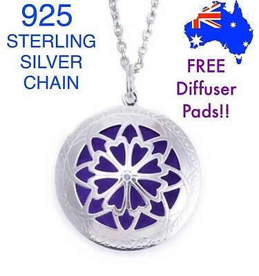 AU10.95 • Buy Aromatherapy Essential Oil Diffuser Locket Pendant 925 Sterling Silver Necklace