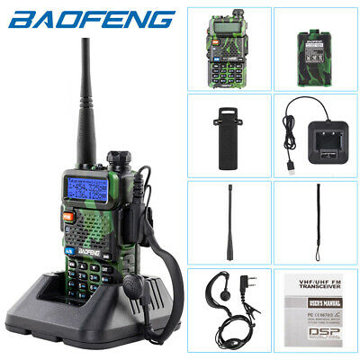 Baofeng UV-5R Green Walkie Talkie UHF/VHF Dual Band Two-Way Radio + Earpiece • 18.99£