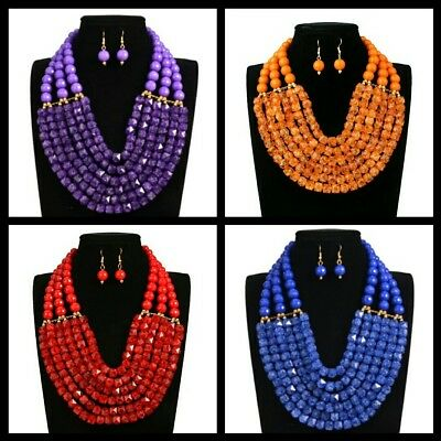 £10.99 • Buy Elegant Wedding Bridal Party Statement African Bead Jewelry Necklace Earing Sets