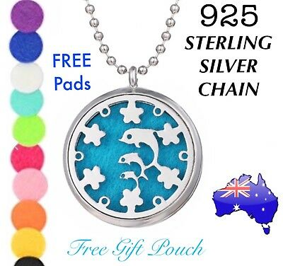 AU13.95 • Buy Dolphin Essential Oil Aroma Diffuser Locket 925 Sterling Silver Chain Necklace