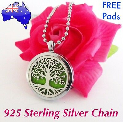 AU14.95 • Buy Tree Of Life Aromatherapy Essential Oil Diffuser Locket Sterling Chain Necklace