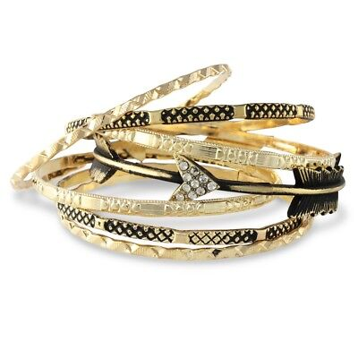 NEW Indie Bohemian Festival Oxidized Goldtone Arrow Seven Bangle Bracelet Stack • 8.10£