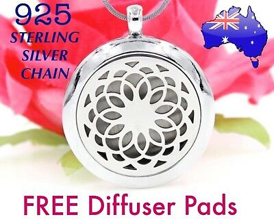 AU14.50 • Buy Mandala Aromatherapy Essential Oil Diffuser Locket 925 Sterling Chain Necklace