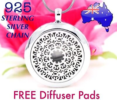 AU14.95 • Buy Mandala Aromatherapy Essential Oil Diffuser Locket 925 Sterling Chain Necklace