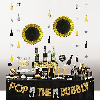29pc New Years Eve Party Supplies Deluxe Bubbly Bar Decorating Kit  Banner Cards • 9.33£