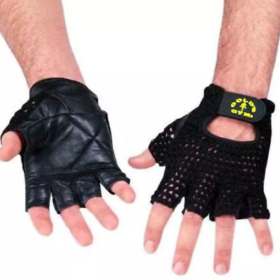 Gold's Gym Mesh Back Leather Weight Lifting Gloves • 15.99£