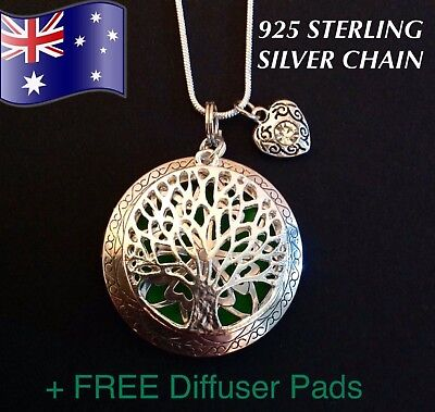 AU11.50 • Buy Tree Of Life Aromatherapy Oil Diffuser 925 Sterling Silver Necklace + FREE Pads