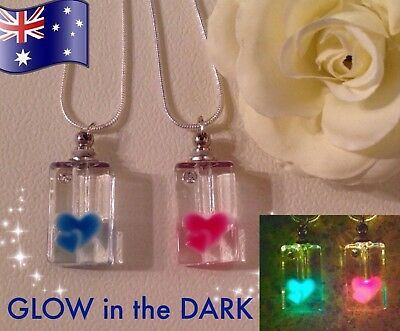 AU8.50 • Buy GLOW In The DARK Heart Glass Bottle Oil Diffuser 925 Sterling Silver Necklace