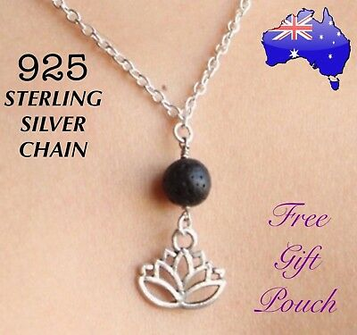 AU9.50 • Buy Lotus Natural Lava Rock Oil Diffuser Pendant 925 Sterling Silver Chain Necklace
