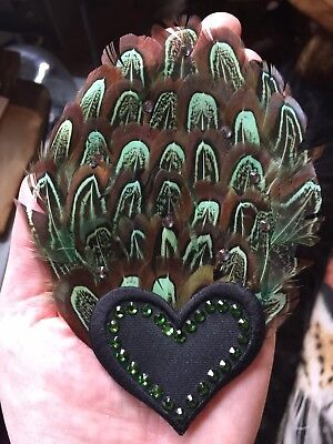 £15 • Buy Green Curly Feathers Hair Clip Heart Design Embellished New Glampire Designs