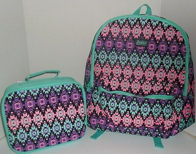f9dff73e8ca9 Justice Aztec Backpack   Lunch Box Girls Green Purple Pink Bookbag New  School • 36.99