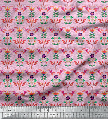 Soimoi Fabric Artistic Leaves & Flower Geometric Decor Fabric  Mtr-GMD-637I • 7.60£