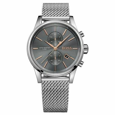 New Hugo Boss 1513440 Mens Mesh Grey Dial Jet Fashion Chronograph Watch Uk Stock • 87.99£