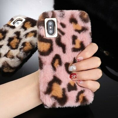 Leopard Animal Print Furry Faux Fur Soft Warm Case For IPhone XS Max 7 8 6S XR X • 3.95£