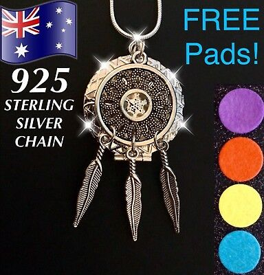 AU11.95 • Buy Dreamcatcher Aroma Essential Oil Diffuser Locket 925 Sterling Silver Necklace