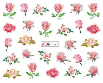 £1.75 • Buy Nail Art Decals Transfers Stickers Valentines Pink Roses (BN875)