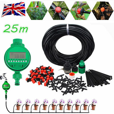25M Automatic Drip Irrigation System Kit Plant Auto Timer Self Watering Hose Set • 14.99£