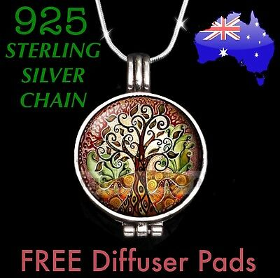 AU15.95 • Buy Tree Of Life Aromatherapy Essential Oil Diffuser Locket 925 Sterling Necklace