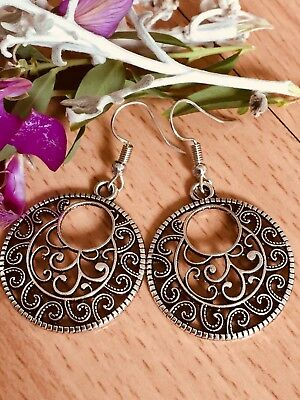AU3.95 • Buy Tibetan Silver Gypsy Boho Style Vintage Round Earrings