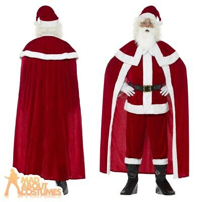 Deluxe Santa Claus Costume + Cape Father Christmas Mens Xmas Fancy Dress Outfit  • 40.99£
