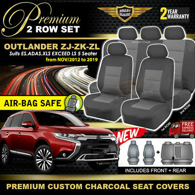 AU169 • Buy PREMIUM CHARCOAL Mitsubishi OUTLANDER ZJ ZK ZL SEAT COVERS F+R NOV/2012 To 2019