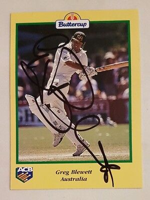AU8 • Buy Greg Blewett Cricket Signed In Person Buttercup Card  Buy Genuine
