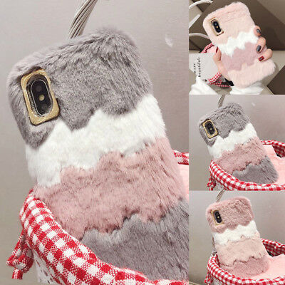 Girls Soft Warm Plush Fluffy Case Cover Comfy Faux Fur For IPhone 5 XS Max 7 8 6 • 5.95£