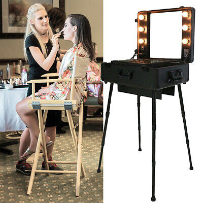 Makeup Trolley Artists Train Case Cosmetic Organizer Box With Lights Mirror Legs • 199.95£