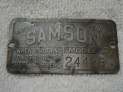 $549.99 • Buy SAMSON TRACTOR  Model M  1919-23 Janesville WI GM Builders Name Plate/Tag/Plaque