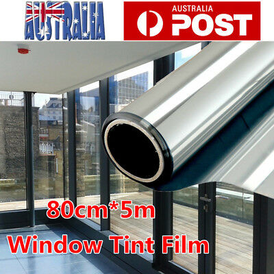 AU35.59 • Buy 80cmX5m Window Tint Film Silver Mirror Privacy Tinting 85% VLT For Home AU