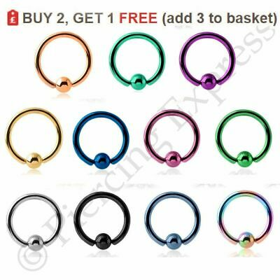 Ball Closure Ring Captive Bead Ring BCR Lip Ear Tragus Nose Septum 16G Steel  • 1.59£