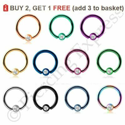Captive Bead Ball Closure Ring Hoop BCR Lip Nose Ear Helix Septum Steel CRYSTAL  • 1.65£