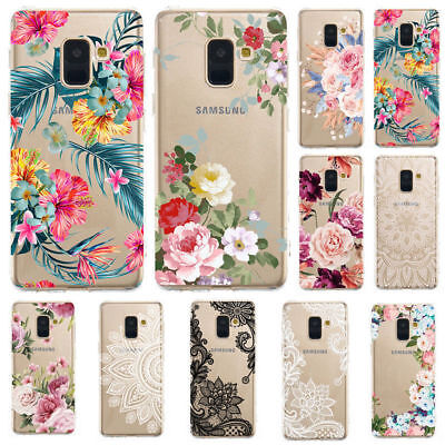 AU3.81 • Buy For Samsung A8 2018 A71 A51 S20 Slim Soft Clear Floral Painted Rubber Case Cover