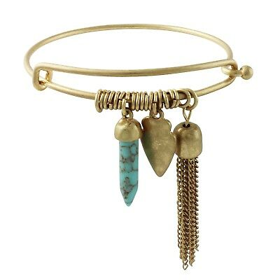 NEW Indie Simulated Turquoise & Tassel Charm Bangle Bracelet In Matte Goldtone • 7.24£
