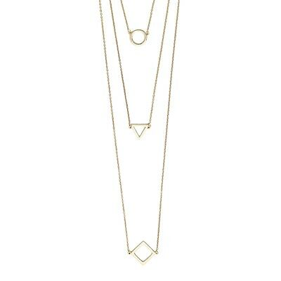 £8.73 • Buy NEW Indie Sacred Geometry Circle Triangle Square Pendant Layered Chains Necklace