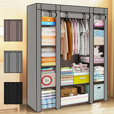 £17.99 • Buy Practical Fabric Canvas Wardrobe Hanging Rail Shelving Clothes Storage Cupboard