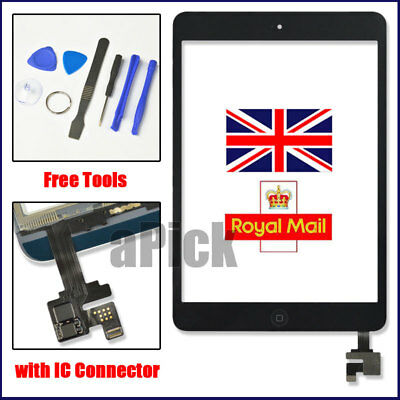 £11.94 • Buy For Black IPad Mini 1/2 Touch Glass Digitizer Screen Replacement +IC Home Button