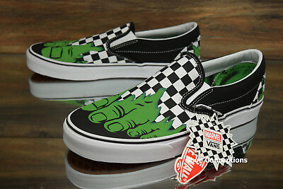 ff81b75d06f Vans Classic Slip-On (Marvel) Hulk Checkerboard Skate Shoes Men s - Multi  Size