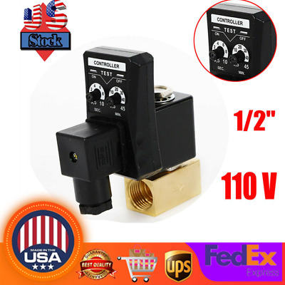 New 110v 1 2 Electronic Timed Way Air Compressor Gas Tank Auto Drain Valve