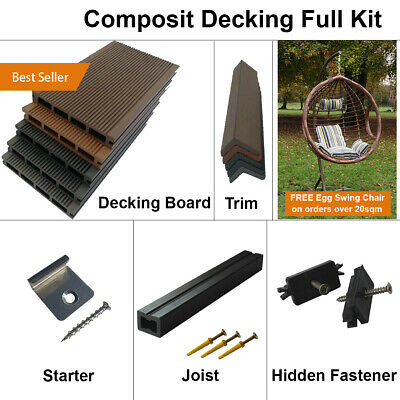 £1375 • Buy Composite Decking Wooden WPC Decking Full Kit Including Board Trim Fixings Joist