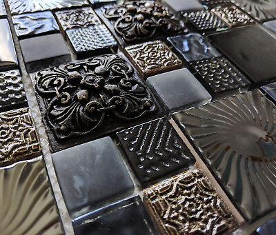Ancient Design High Relief 3d Glass Stone & Metal Squares Mosaic Wall Tiles 8mm • 9.98£