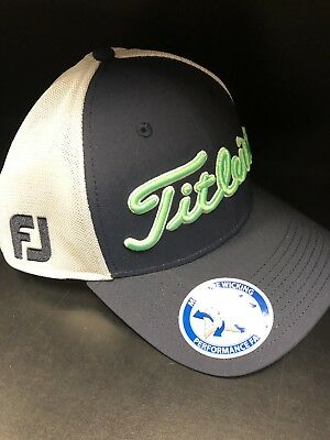 Titleist Tour Sport Mesh Fitted Hat Cap Navy  white  Moisture Wicking  Fabric  • a99fdf135b7