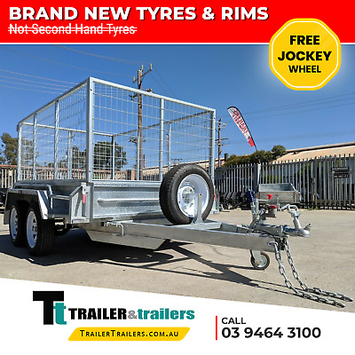 AU3375 • Buy  9x5 GALVANISED TANDEM TRAILER 3FT CAGE NEW WHEELS AND TYRES - JOCKEY WHEEL