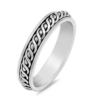 £16.99 • Buy Celtic Twist Style Oxidised 925 Sterling Silver Spinning Spinner Band Ring 5 Mm