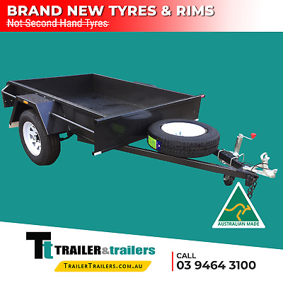 AU990 • Buy 7x5 SINGLE AXLE BOX TRAILER FOR SALE | SMOOTH FLOOR | FIXED FRONT | NEW TYRES